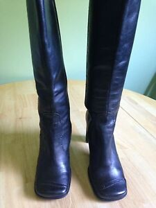Black leather spring boots