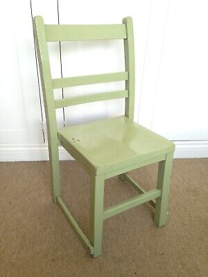 ANTIQUE PINE PAINTED GREEN CHILDS SCHOOL CHAIR CHILDRENS VINTAGE SEAT OLD RETRO