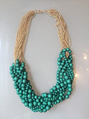 NWOT Green And Gold Chain Beaded Bubble Bib Wedding Statement Necklace](Green And Gold Wedding)