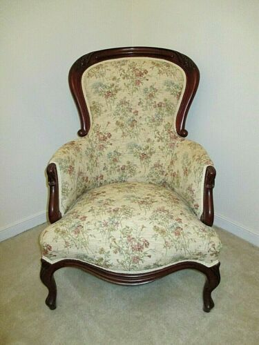 Victorian Mahogany Beautiful arm chair, re-upholstered, excellent condition