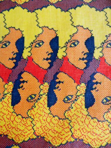 Andy Warhol style POP ART mid-century HUGE curtain VIVID colours 215 x 106cm