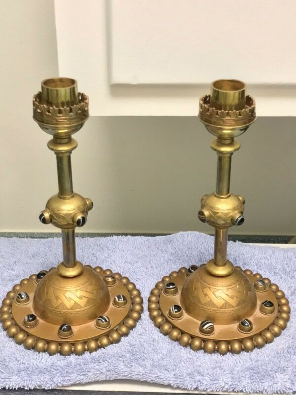 Victorian Banded Agate Candlesticks RARE !