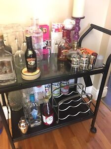 BAR CART (comes with everything you see incl. alcohol)