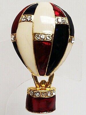 Vintage Estate  Enamel & Rhinestone HOT AIR BALLOON Articulated Pin Brooch Enamel Hot Air Balloon