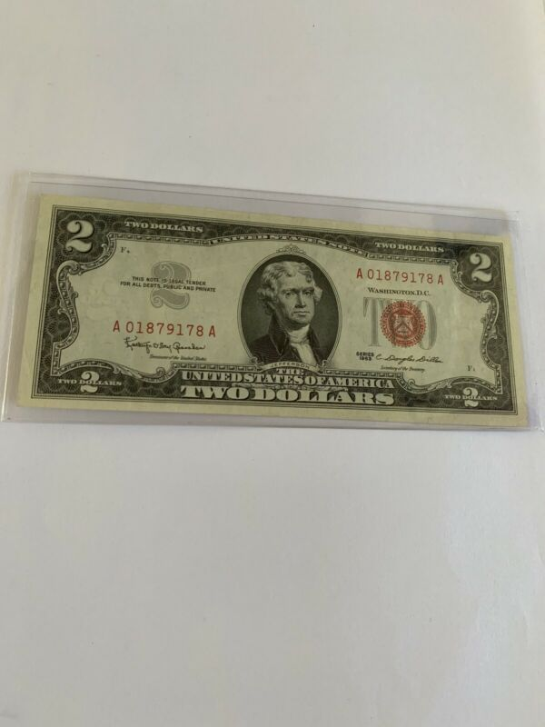 1963 A Two Dollar Note Red Seal $2 Bill US CURRENCY OLD MONEY  Random