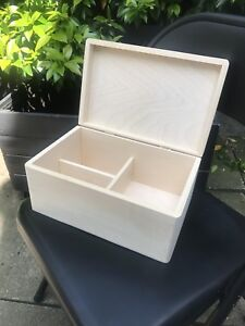 Wooden Box Keepsake Craft Seed Storage With Compartments And Brass Hinged Lid