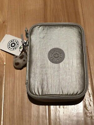 Kipling 100 Pens Pencil Case in Cloud Grey Metallic