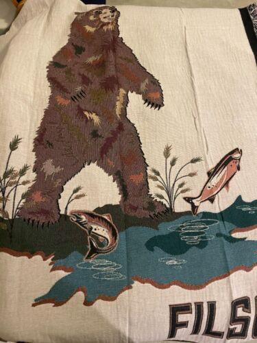 NWT Filson Bear Fish and Sunburst Blanket Knight Mills Woven in USA 100% Cotton