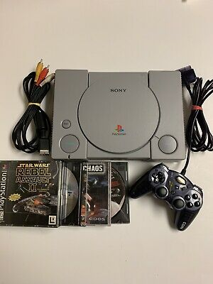 Sony Playstation PS1 Game Console SCPH-5501, Wires, 1 Controller TESTED! 4 Games