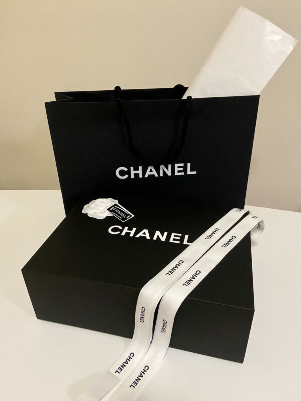 Authentic Chanel Magnetic Gift Box 13.5x10x5 with Ribbon,Flower,Tissue&Paper Bag