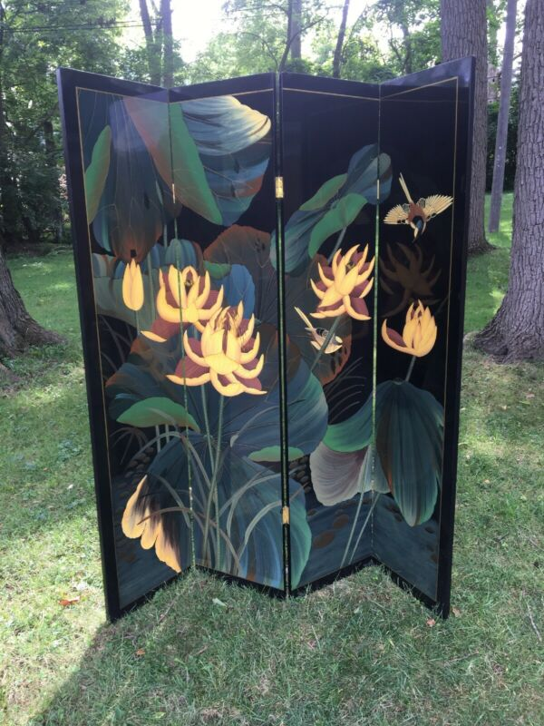 Lovely Hand Painted Japanese Room Divider/ Screen Lotus Bird