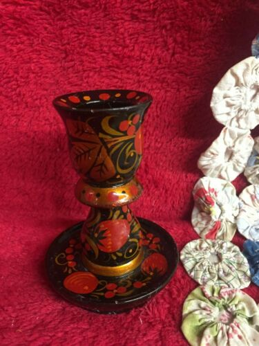 Vintage Black Lacquer Ware Candle Stick with Gold Red Strawberries Floral Design