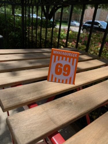 Individual Whataburger Number 69 Table Tent Number