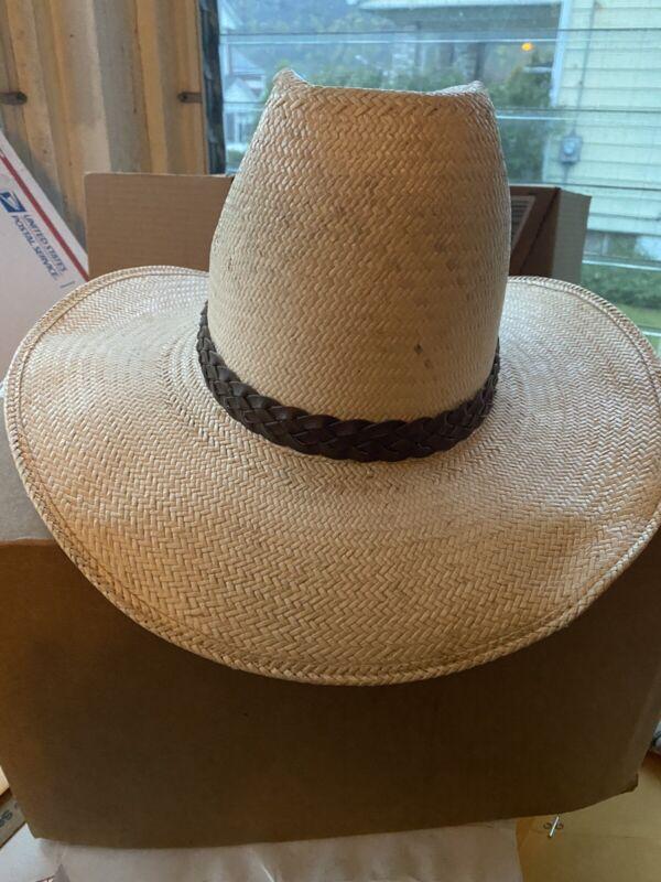 VINTAGE John B. Stetson Roadrunner Cowboy Hat Woven Straw Bryantcote SZ 7 3/8