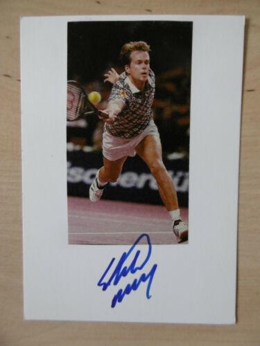 Stefan Edberg Autogramm signed 10x15 cm Karteikarte mit Magazinbild