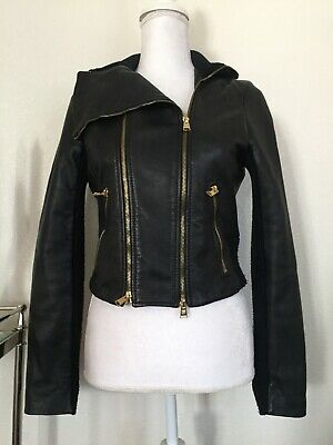 BCBG Max Azria Leather Jacket Size S/small Veda Black GUC $900 knitted crop fit