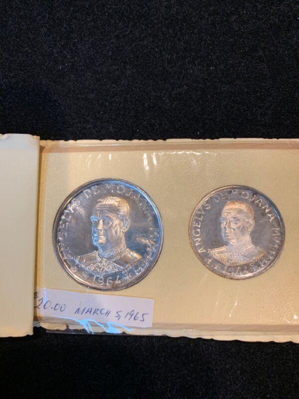 1964 1 &  2 SCUDI SILVER PROOF ANGELO DE MOJANA  RARE NM - 2 coin set