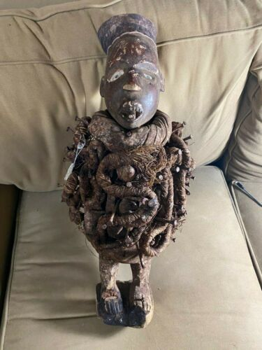 22.0 Inches Tall Magnificent Vintage African Konde Fetish Male Wood Statue