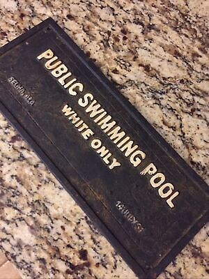 Segregation Public Swimming Pool Sign Cast Iron 1931 Selma Alabama