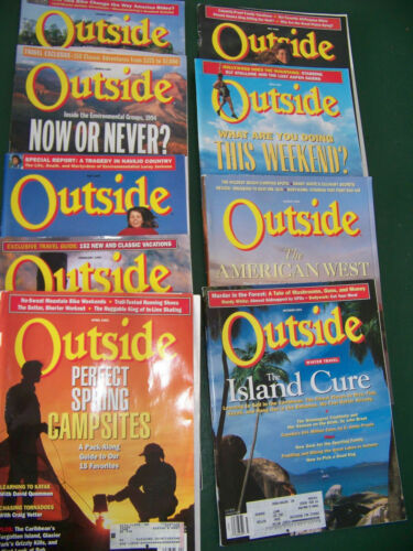 9 of -1993-1994- OUTSIDE MAGAZINE BACK ISSUES CAMPSITES CAMPING ISLAND TRIPS LOT