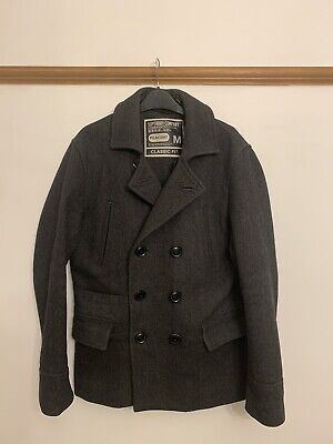 SUPERDRY Men's Commodity Edition Grey Wool Blend PEACOAT ClassicFit Jacket - M