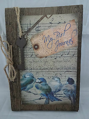 "Decorative Bird Journal Brown Kraft Paper Metal Key 45 Pages 8.25"" By 5"" Inches"