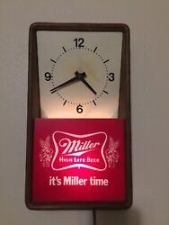 Vintage 1981 it's Miller time beer clock lighted sign High life Works