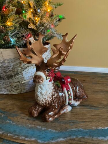 NWT Christmas Reindeer BEAUTIFUL Antlers Sleigh-Bells