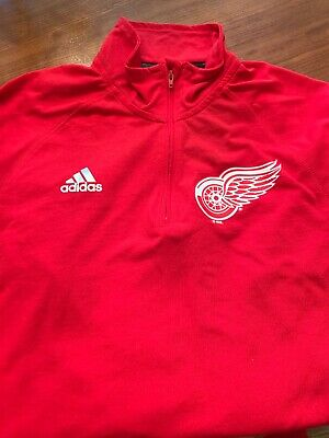 Detroit Red Wings Adidas Ultimate Tee 1/4 Zip Climalite L/S Shirt Mens Small $60 Detroit Red Wings Tee