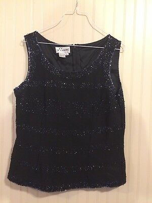 J Laxmi New York Top/Blouse Size Large Sleeveless Zip Back Lined Beaded  for sale  Purvis