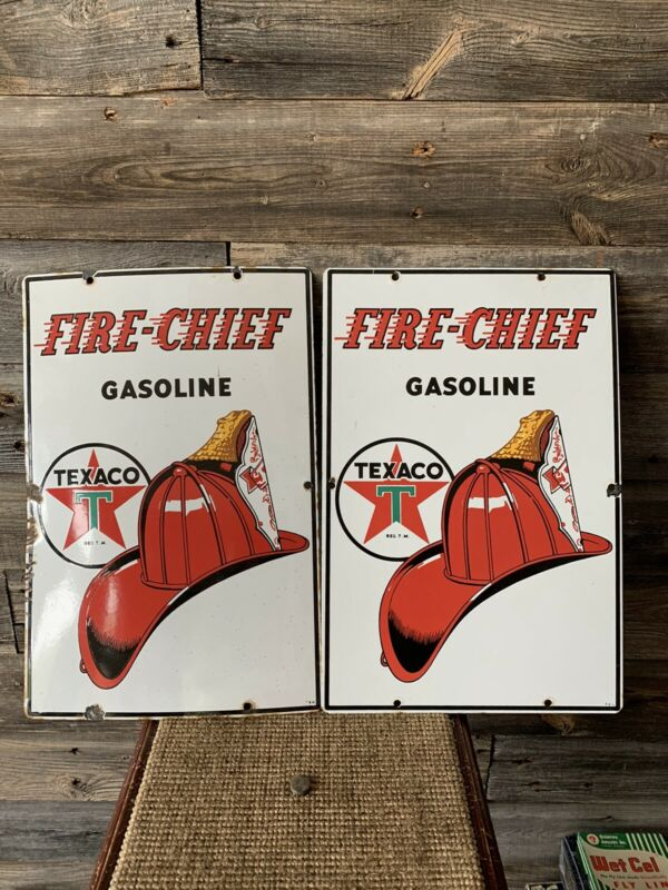 Vintage Texaco Fire Chief Porcelain Pump Plates Advertising Sign
