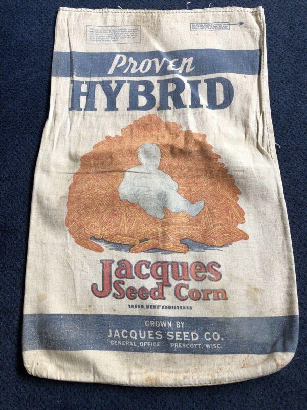 Vintage Jacques Hybrid Seed Corn Sack Bag Cloth Farm Feed Baby Wisconsin