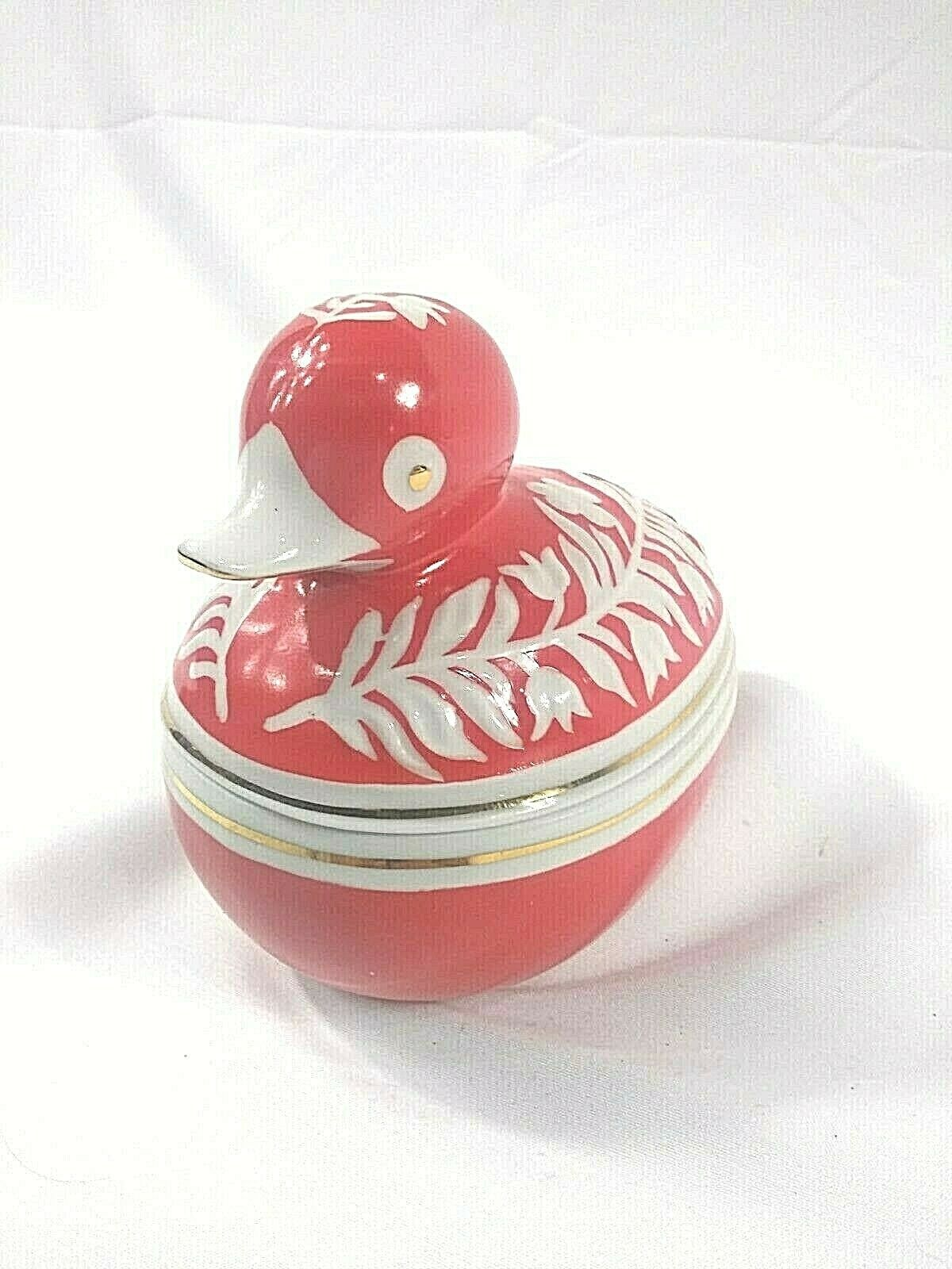 Charming Hollohaza Porcelain Duck Trinket Box, Hand Painted, Red, White, Gold  - $9.99