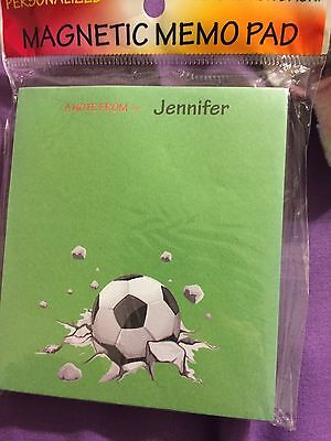 Memo Manget Pad From Jennifer with Socer ball on it