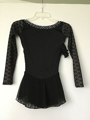 Icings New AM BLACK TEST COMPETITION ICE ROLLER SKATING DANCE BATON DRESS