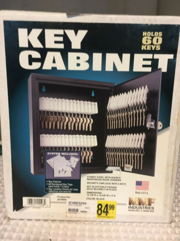 Locking Gray Metal Key Cabinet Holds 60 Slotted Keys Made in USA NEW