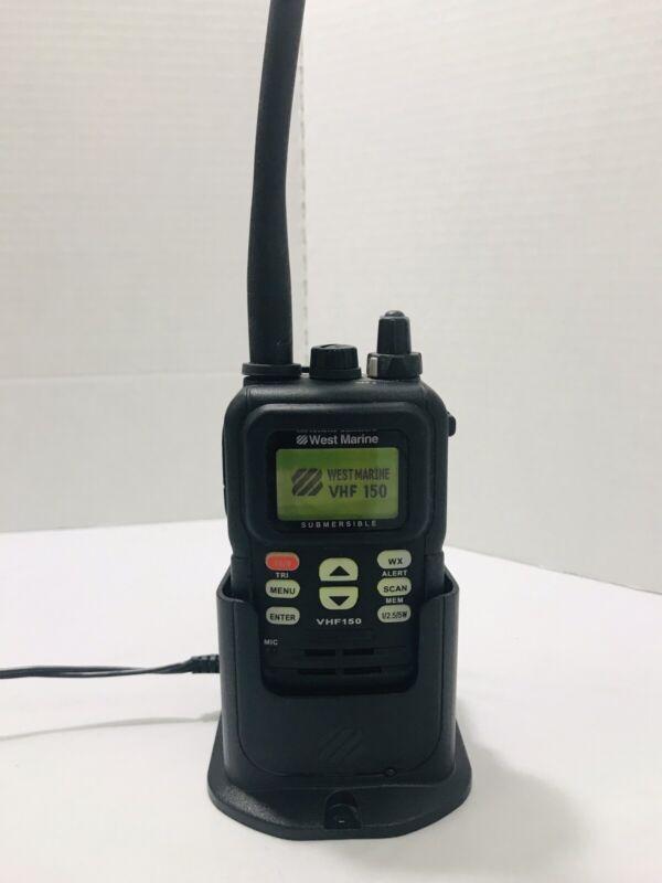 WEST MARINE VHF150 SUBMERSIBLE HANDHELD MARINE RADIO & CHARGER *DEAD BATTERY*