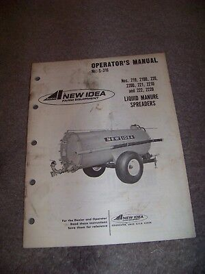 New Idea Farm Equipment Operators Manual No. S-316 Liquid Manure Spreader