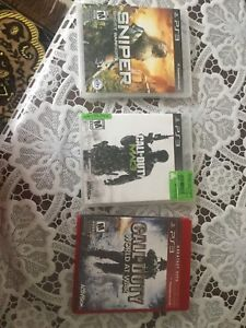 3 PS3 Games COD MW3, COD World at war and Sniper Ghost Warrior