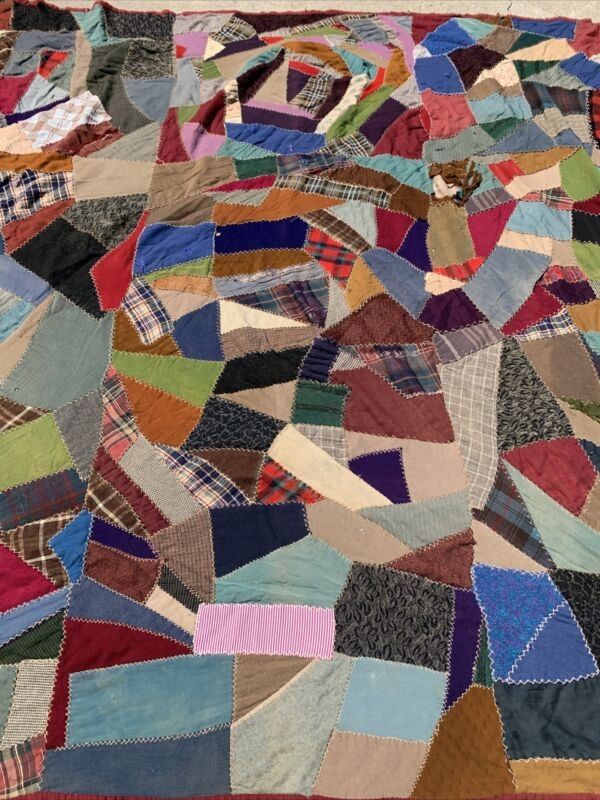 Embroidered Victorian Crazy Quilt 70X70 Beautiful Fabrics And Very Old