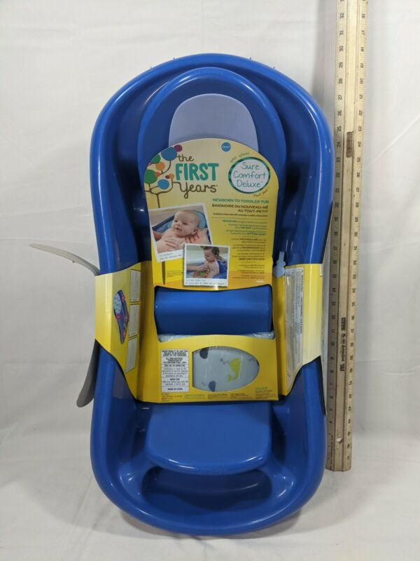 THE FIRST YEARS Newborn-Toddler Tub w/ Sling NWT/D Deluxe Sure Comfort Blue