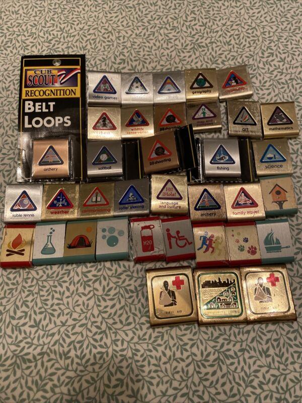 Lot 36 Cub Boy Scout Belt Loop Achievement Merit Skill Award Badges BSA Metal