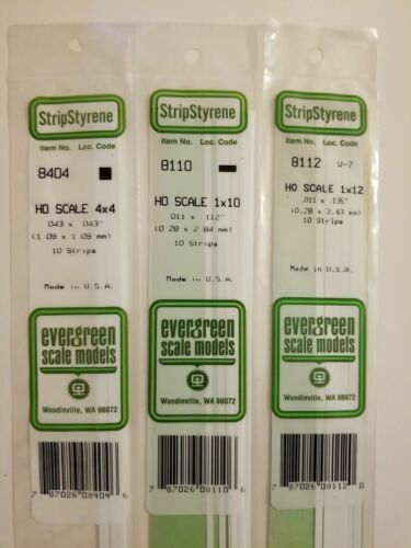 Ho Scale Evergreen Scale Models Strip Styrene Lot Of 3 Item 8404 8110 8112  - $16.01