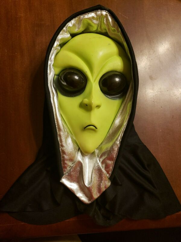 Vintage Easter Unlimited Halloween Alien Face Mask Extraterrestrial with hood!