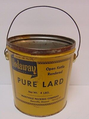 Antique Vintage 1960s NODAWAY PURE LARD TIN MARYVILLE MISSOURI ADVERTISING TIN