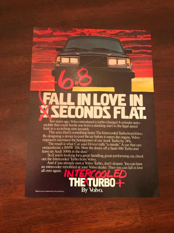 1984 VINTAGE 8X11 PRINT Ad INTERCOOLED TURBO VOLVO FALL IN LOVE IN 6.8 SECONDS