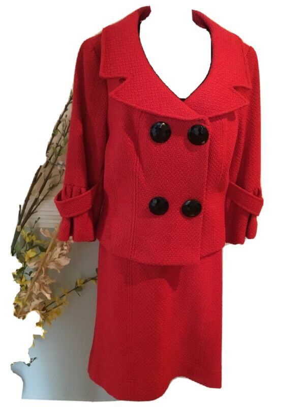 Alberto Makali Red Double-breasted Skirt Suit Size 14