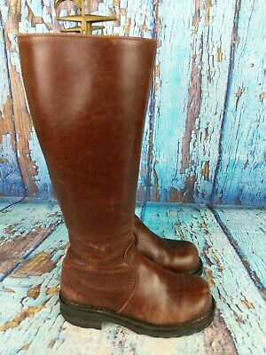 F SHOES By JOHN FLUEVOG Brown Leather Moto Tall Side Zip Boots Women's Size US 6