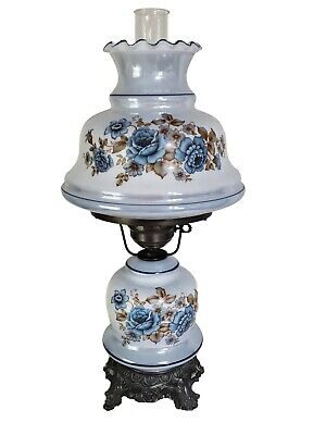 """Vintage Hurricane Lamp Blue / White Floral Flowers 23"""" Tall 3 Way Lighing"""