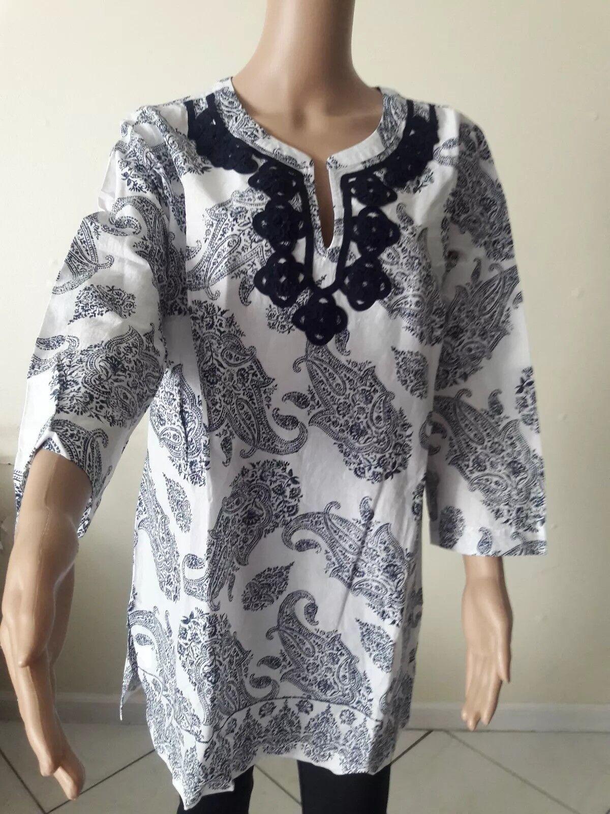 Liz Claiborne Blouse Tunic Top Shirt Boho crochet Sz LT NWT